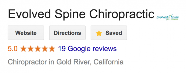 5 star Google reviews for Sacramento county Chiropractic office Evolved Spine Chiropractic